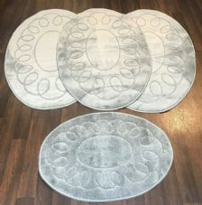 ROMANY WASHABLE TRAVELLERS MATS 4PC SET NON SLIP REGULAR SIZE SILVER-GREY OVAL